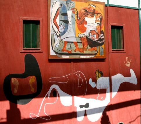 Mural painting by Le Corbusier on the facade of L'Etoile de la Mer @CelinaLafuenteDeLavotha
