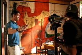 Marco filming documentary in Rebutato's bedroom with painting by Le Corbusier @CelinaLafuenteDeLavotha