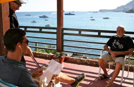 Marco interviewing Rober Robutato with a view of Monaco far back @CelinaLafuenteDeLavotha 2013