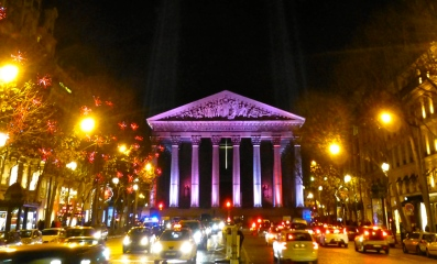 La Madeleine dressed for the holidays, Paris