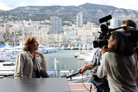 Marie Cecile Proust being interviewed by Monaco Info