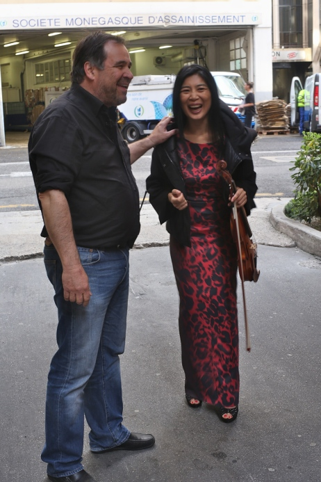 Producer Federic Bovis with Zhang Zhang at the Monaco Sanitation Center