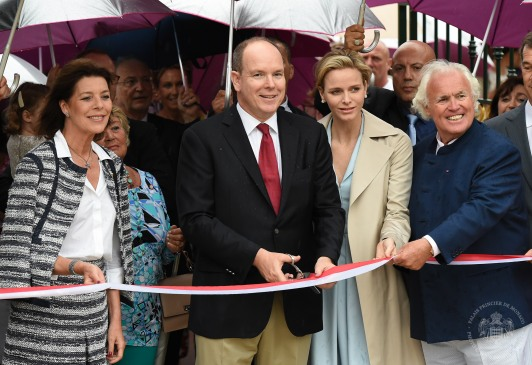 Princess Caroline, Prince Albert, Princess Charlene and Yves Piaget on June 14, 2014@ Prince's Palace)