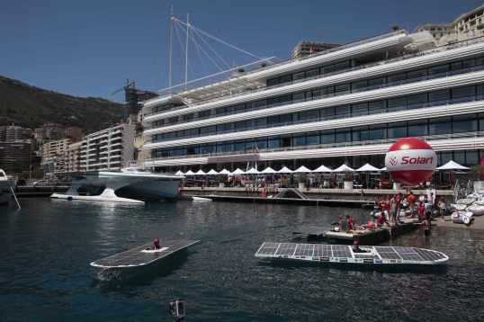 Planet Solar, the solar powered vessels, the village and the Yacht Club of Monaco@Franc TERLIN[1]