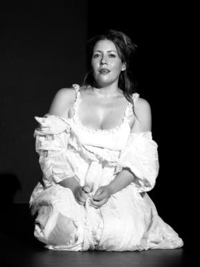 Berta in her wedding dress