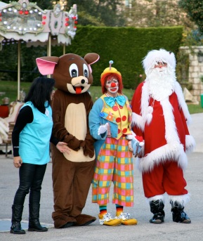 Frankie with Santa and friends