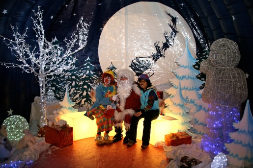Frankie with Santa Claus and Elf