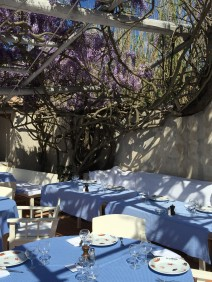 The tables by the wall under the Wisteria @CelinaLafuenteDeLavotha