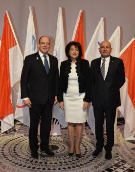 HSH Prince Albert, HE Mme Yvette Lambin-Berti and Coronel Luc Fringant