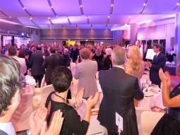 An ovation for Princess Stephanie and Prince Albert II