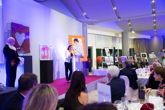 Princess Stephanie addressing the guests at the auction