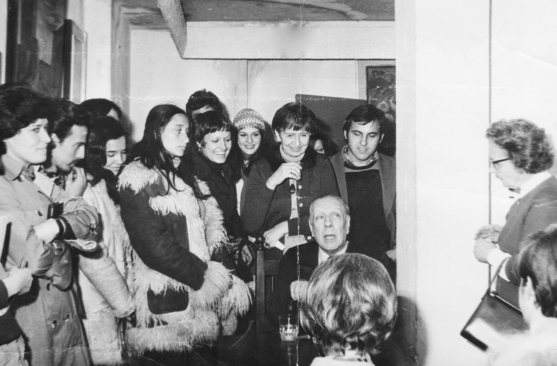 Celina Lafuente and other students with Jorge Luis Borges, Buenos Aires, Argentina