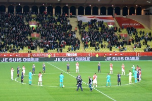 Honoring the Paris victims at Stade Louis II @CelinaLafuenteDeLavotha