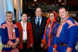 Johan Mathis Turi (WRH), Mikhail Pogodaev (WRH), HSH Prince Albert, Inger Anita SMuk (ICR) and Anders Oskal (ICR) @Penille ingebrigtsen Artic Frontiers 2015