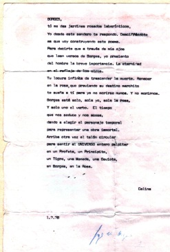 Poem dedicated to Borges created by Celina Lafuente in 1978 that was signed by Borges
