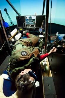 Andre Borschberg sleeping in the Solar Impulse simulator @Solar Impulse/Jean Revillard