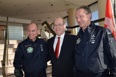Bertrand Piccard, Prince Albert and Andre Borschberg @Charly Gallo 2015