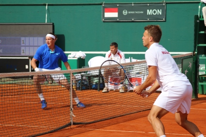 Henri Kontinen and Benjamin Balleret during the doubles match @CelinaLafuenteDeLavotha
