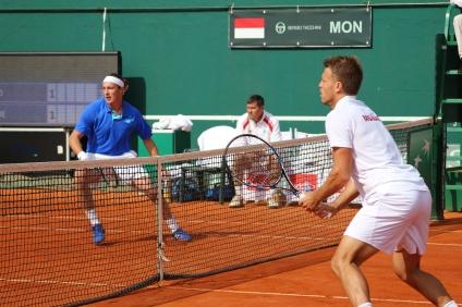 Henri Kontinen and Benjamin Balleret during the doubles match @CelinaLafuenteDeLavotha