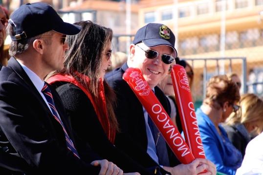 HSH Prince Albert II with Melanie-Antoinette de Massy supporting the Monaco team @CelinaLafuenteDeLavotha