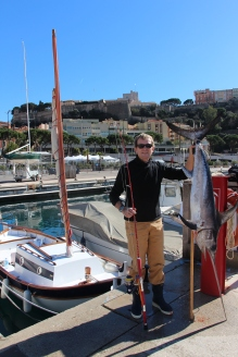 Jean-Yves Giraudon with the Espadon he caught in Monaco waters @JYG