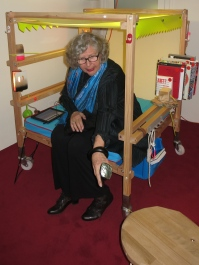 Marie-Claude Beaud sitting at one of the chairs in the Reading Salon by Stephane Magnin @CelinaLafuenteDeLavotha