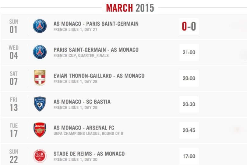 Monaco list of matches during March in all competitions