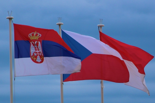 Flags from Serbia, Czech Republic and Monaco Apr.19, 2015 @CelinaLafuenteDeLavotha