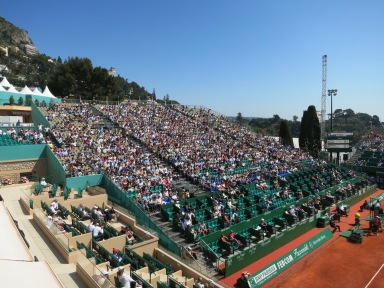 Tribunes are full during first round at the tennis masters in MC @CelinaLafuenteDeLavotha