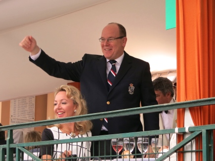 HSH Prince Albert congratulating Mike and Bob Bryan for their doubles victory Apr.19, 2015 @CelinaLafuenteDeLavotha