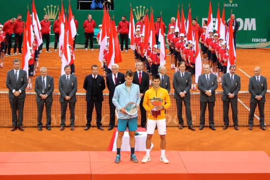 MCRM trophy ceremony. Tomas Berdych and Novak Djokovic Apr. 19, 2015 @CelinaLafuenteDeLavotha