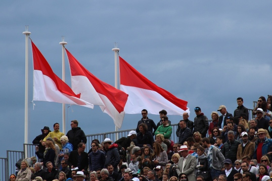 Monaco flags against a stormy sky Apr.19, 2015 @CelinaLafuenteDeLavotha