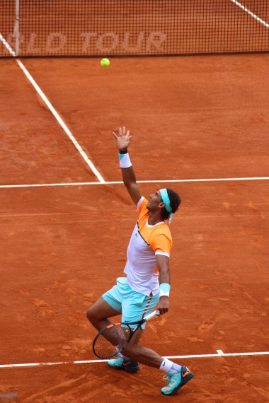 Rafael Nadal serving - April 15, 2015 @CelinaLafuenteDeLavotha