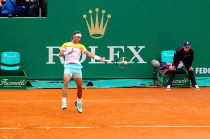 Rafael Nadal with the ball in the center of the racquet @CelinaLafuenteDeLavotha