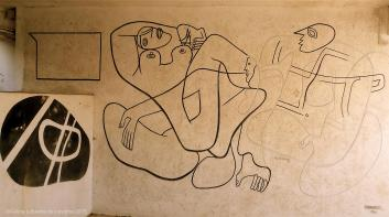 Mural painting by Le Corbusier on the ground floor @CelinaLafuenteDeLavotha