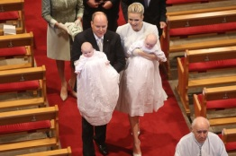 Prince Albert and Princess Charlene with their beautiful little children exit the Cathedral after the ceremony, May 10, 2015 @Michel Danino-12