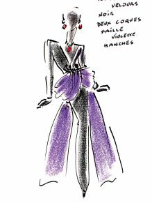 Violet sketch by Hubert de Givenchy @Ribolzi Gallery