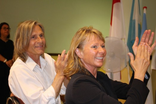 Ivan and Dawn applaudding Adolfo Perez Esquivel after his locution at FANB, June 11, 2015