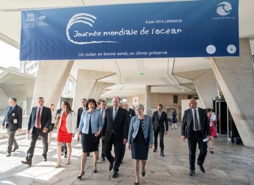 Prince Albert II de Monaco arriving at UNESCO hdq with Irina Bokova, Gral Dir of UNESCO, and Yvette Lambin-Berti, Ambassador and Permanent Delegate of Monaco to UNESCO