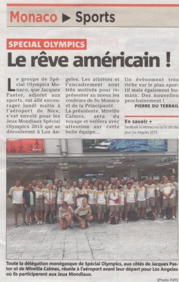 Article in Monaco Matin about the trip to Los Angeles of the athletes from Special Olympics Monaco