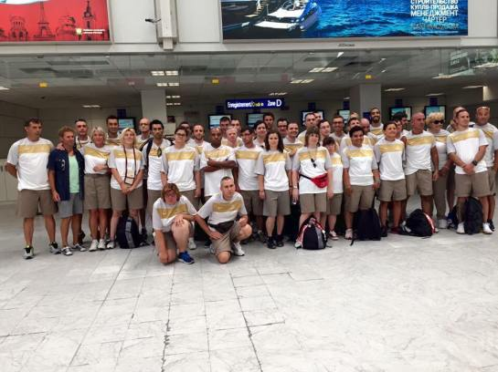 Athletes from Special Olympics Monaco with Jacques Pastor and Mireille Calmes ready for their trip to Los Angeles