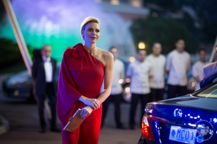 Princess Charlene looking radiant on arrival at the Salle des Etoiles for the RCB @Frederic NEBINGER, Palais Princier