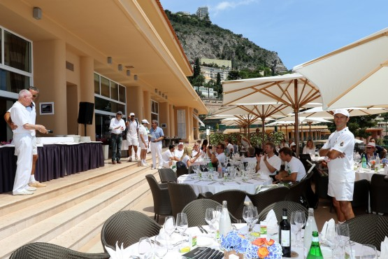 Jerome Seguin with Jacques Dorfman on stage with participants ready for the buffet lunch on the terrace @Erika Tanaka