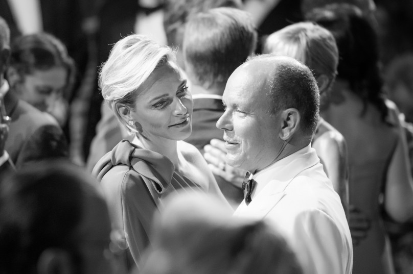 Princess Charlene giving a tender loving glance to her Prince @Eric MATHON, Palais Princier