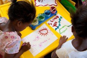 Children at the Mickey Mouse nursery school in Swelled @Sebastien Darrasse, Realis