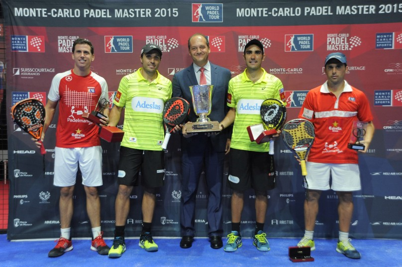 From L to R Paquito Navarro, Fernando Belasteguin, Fabrice Pastor, Pablo Lima and Matias Diaz Sangiorgo MCPD 2015@MC International Sports