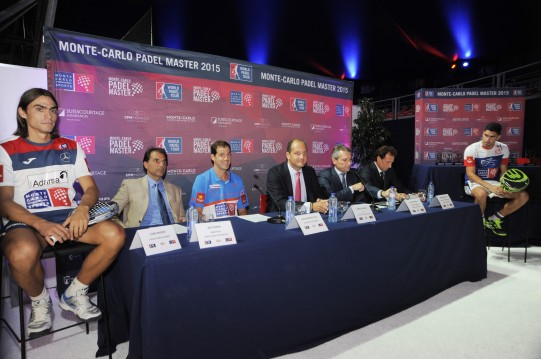 Press Conference - From L to R Juan Mieres, Nito Brea (Director MCPM), Juan Martin Diaz, Fabrice Pastor (CEO), Javier Porras (Dir.Gral.), Hernan Auguste (Dir. Inernational), Maximilian Sanchez @MC International Sports