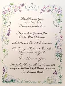 The Princess Grace Awards Gala dinner menu @CelinaLafuenteDeLavotha