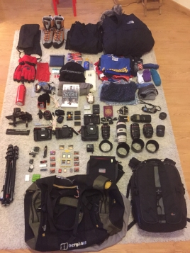 Ed Wright's back pack for the expedition to Antarctica @EdWright Images