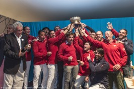 Bernard d'Alessandri decorking the champagne to celebrate with Tuiga's crew @Voiles de St Tropez : photo gilles Martin-Raget